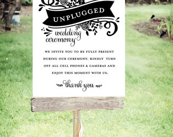 """Unplugged Wedding Sign   Instant Download   Floral Banner   Poster Size 24""""x30""""   No. EDN 2001P"""