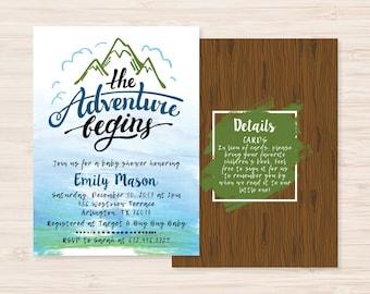 The Adventure Begins Explorerer Adventurer Baby Boy Shower Invitation