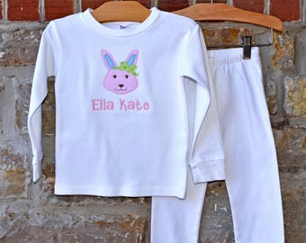 Mrs Bunny Monogram Pajamas - Personalized Easter Pajamas - Monogram Easter Pajamas - JULIANNE ORIGINALS