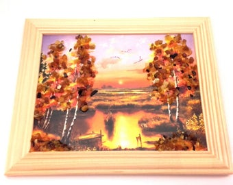 Amber Genuine Picture Evening Sunset Wooden Pine Natural Frame Souvenir Nice