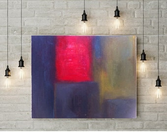 "Large Abstract painting, original oil canvas art, Modern living room art, Contemporary Red and Blue wall art, 24""X28"" ready to hang"