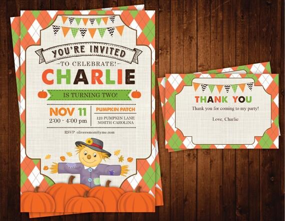 Fall Pumpkin Scarecrow Birthday Invitation, Personalized Scarecrow Fall Boy or Girl Birthday Invites