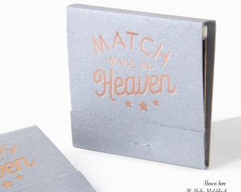 MATCH MADE in HEAVEN w/ Stars Matchbooks - Wedding Favors, Wedding Matches, Wedding Decor, Custom Matchbook, Shower Favors, Rose Gold Foil