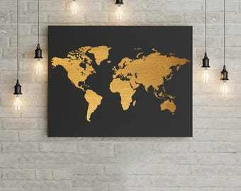 World Map Black and Gold Home Decor Wall Art Poster, Office Decor Office Wall Art modern digital download Contemporary wall art printable