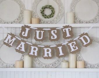 JUST MARRIED Wedding Banner,  Just Married Sign, Wedding Decoration, Wedding Get Away Car, Wedding Photos, Vintage Wedding