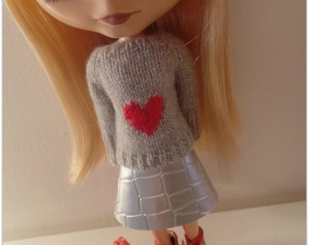 """pdf knitting pattern - Lots of Love sweater for 12"""" Blythe"""