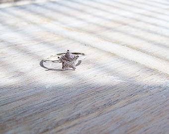 Sterling Silver Starfish Ring, Silver Starfish Stack Ring, Stack Ring, Beach Ring, Starfish