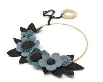 Blue & Black Felt Floral Hoop· Felt Leaves· Wreath· Wall Hanging· Art· Home Decor· House Warming· Felt Flowers· Gold· Birch· Wool Yarn· Dark