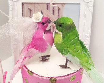 pink and green wedding love birds cake topper