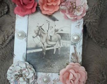 Altered Picture Frame and Vintage Donkey Postcard