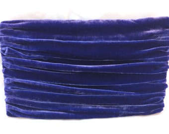 Blue Velvet Clutch Purse with Ruched Detail