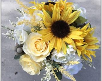 Sunflower bouquet. Set with boutonnière 03.