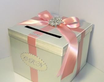 Wedding Card Box Ivory and Blush/light Pink Gift Card Box Money Box  Holder--Customize your color