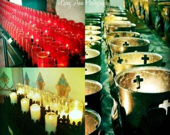 Mission Church candles Set 8x8 color photograph religous three images