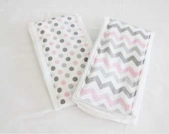 Pink and Grey Chevron and Polka Dot Burp Cloths - Set of 2