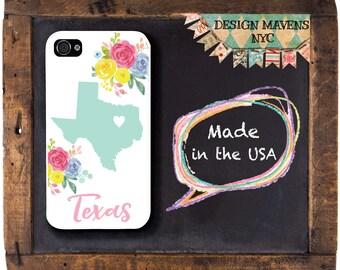 Texas iPhone Case, Floral iPhone Case, Personalized Texas iPhone Case, Spring iPhone Case, iPhone X, iPhone 8, 8 Plus, iPhone 7, 7 Plus, 6s