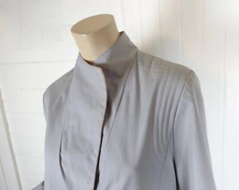 80s New Wave Jacket in Gray & Pink- 1980s Punk / Futuristic / Minimal / Minimalist / Sci-Fi Trench Coat- Large