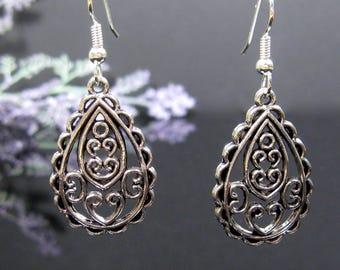 Silver boho earrings, surgical stainless steel, silver dangle, nickel free earrings, gypsy jewelry, dangle earrings, silver drop earrings