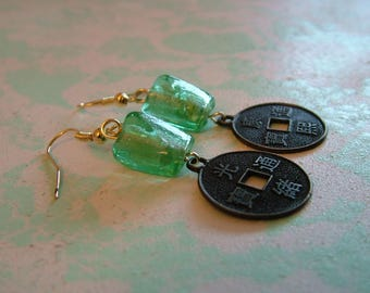 Faux Coin and Glass Dangling Earrings