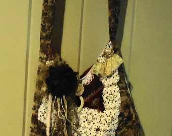 Victorian Gypsy Bag with hand embroidery and beading, crocheted doilies, vintage pins and buttons