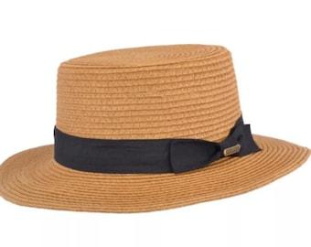 Summer Paper Straw Boater Hat - Camel
