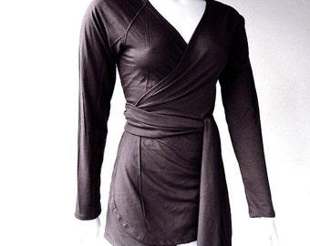 Wrap shirt organic knit jersey cotton, wraparound top, tunic top, handmade organic clothing
