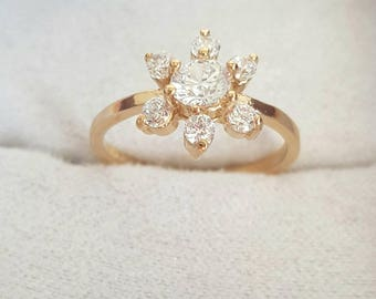 1930s Vintage Art Deco Ring Vintage Ring 14k Gold Plated Ring  Art Deco Ring Vintage Engagement Ring Flower Ring Size 7 Ring