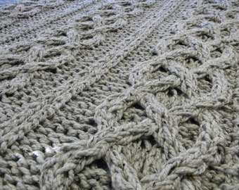 Wool Big Chunky Cable Knit Blanket - Grey Marble