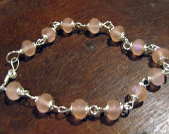 Sterling Silver Wire Wrapped Aurora Borealis Matte Rose Czech Glass Rondelle Beaded Bracelet