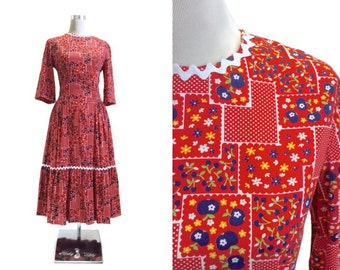 Reduced 1950's Dress | Blue Apples Novelty Print Dress | Red Dress | 50's Vintage Dress | Square Dance | Patio Dress - Ric Rac Trim