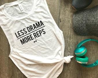 Less Drama More Reps Workout Tank, Womens Workout Tank, Funny Workout Tank, Muscle Tank, Fitness Tank, Gym Tank, Workout Motivation, Fitness