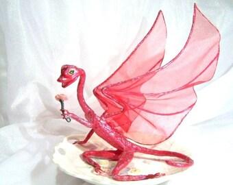 Dark Pink Fairy Dragon Named Rose, a Flower Girl Fantasy Art Doll