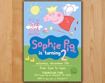 Peppa pig invitation etsy peppa pig invitation peppa pig birthday invitation peppa pig party invite boy girl stopboris Image collections