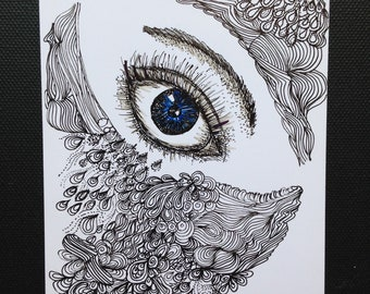 Hand drawn original pen and ink zen doodle, female eye