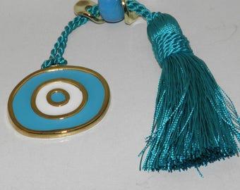 Light blue Evil Eye Metal Charm Gift Wrap - Greek Traditional Souvenir - Brass Plated - White Evil Eye Metal Charm Gift Wrap