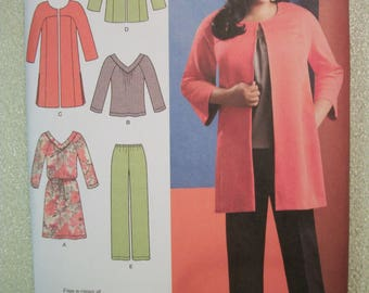 Simplicity 1938 Womens BB 20W to 28W  coat or jacket, pants and knit dress or top. Khaliah Ali Collection