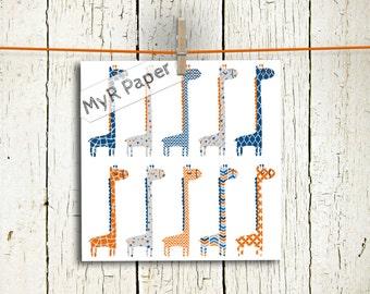 "Giraffe clip art: ""Blue & Orange"" zoo, jungle, safari, baby shower, baby. Transparent background"
