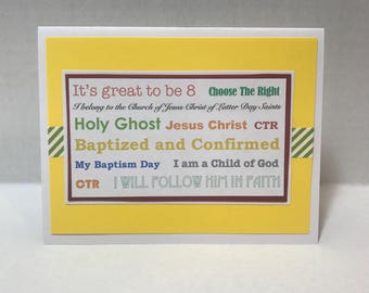 LDS Baptism Card for age 8