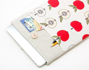 30% OFF SALE White Linen MacBook Case. Case for MacBook 13 Pro (non retina). Sleeve for MacBook 13 Pro with apples pocket. MacBook Cover