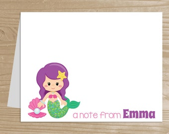 Personalized Kids' Stationery - Set of 10 Mermaid Notecards for Girls - Folded Note Cards with Envelopes - Custom Mermaid Notecards