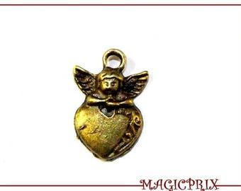 set of 4 charms/pendants Angel & heart BRONZE 25 X 15 mm 453