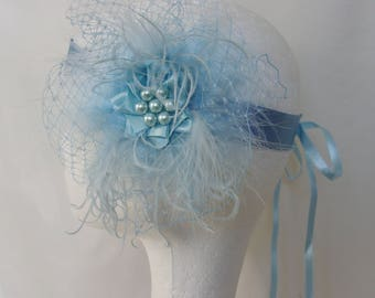 Pale Blue Flapper Band - Powder Baby Sky Blues Veil Feather Vintage 1920 Bridal Ribbon Tie Head Band Roaring 20's Great Gatsby Made to Order