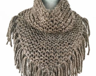 Hand Knit Poncho, Knit Scarf, Fringed Scarf, Women's Accessories, Winter Accessories, Gifts under 40, Christmas Gifts, Brown, Tweed, Barley