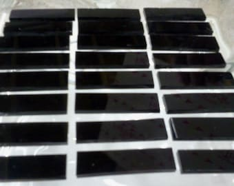 50 TINY BLACK BORDERS Opal Stained Glass Mosaic Tiles (1/4 X 3/4)