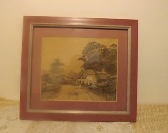 Vintage framed signed watercolor A.Zoulhery?