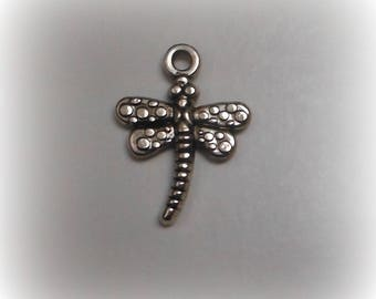 Charm - pendant - silver dragonfly