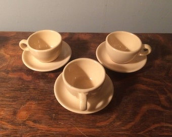Vintage Restaurant Ware - Buffalo China - Adobe Tan -  Tea Cups and Saucers