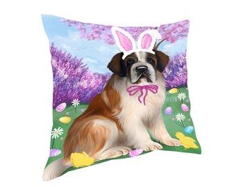 Saint Bernard Dog Easter Holiday Throw Pillow