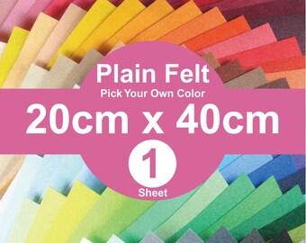 1 Plain Felt Sheets - 20cm x 40cm per sheet - Pick your own color (A20x40)