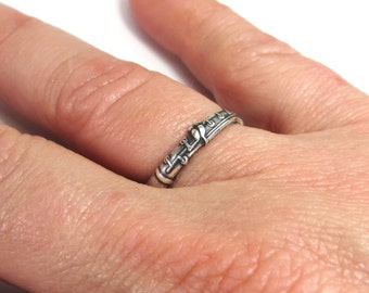Clarinet Ring in Sterling Silver Ox Finish and Antiqued Brass Finish